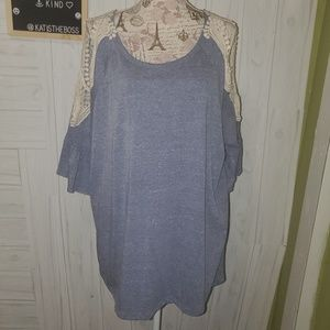 Oddy 3x Plus size blue tunic crochet cold shower